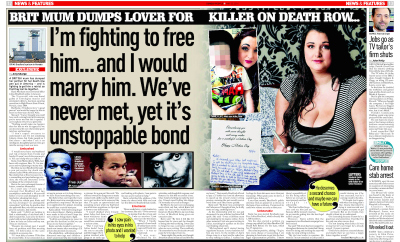 Brit mum dumps lover for killer on death row Sunday People 22-5-2016