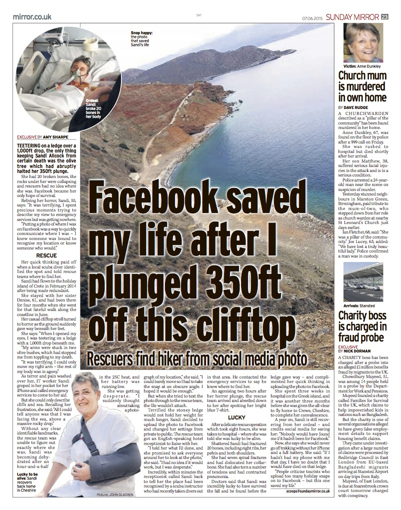 Facebook saved my life after I plunged 350ft from this clifftop Sunday Mirror 7-6-15 copy